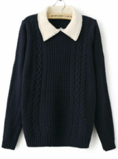sweater,navy,collar,collared,knit,cable knit,blouse,cute,top,black and white