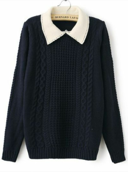 knit sweater navy collar collared cable knit sweater