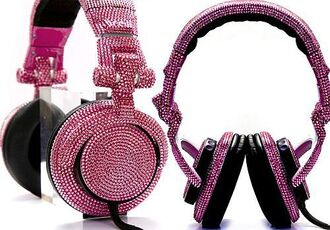 pink black hair accessories headphones pink diamonds