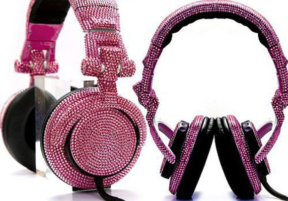 headphones hair accessories pink diamonds black pink