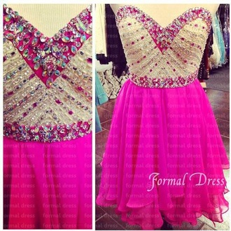 dress pink dress pink prom dress crystals short prom dress