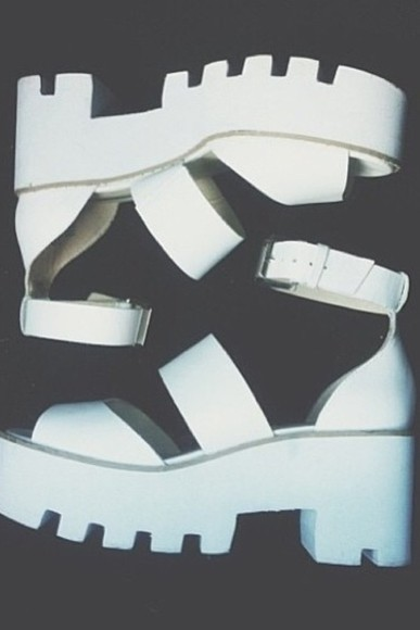 shoes platform sandal white high