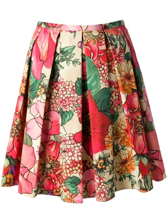 skirt red valentino valentino pleated floral skirt