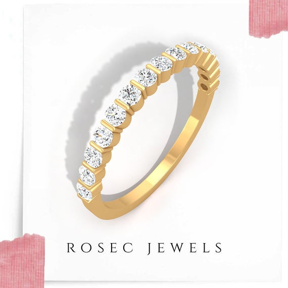 14kt Rose Gold Half Eternity Ring, Round Brilliant Diamond Wedding Band, Stackable Anniversary Ring for Her