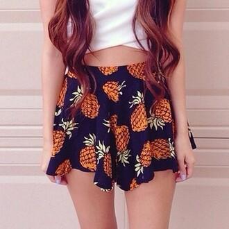 skirt girly pinapples pineapple print orange trendy cute top