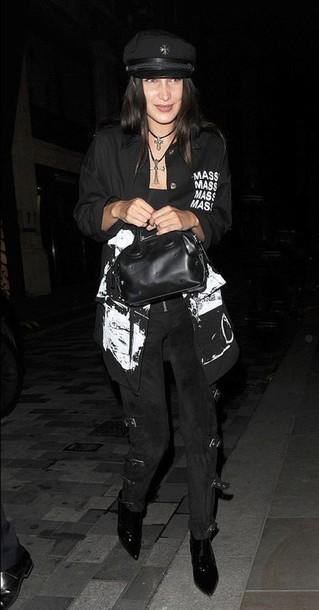 pants bella hadid hat streetstyle jacket london fashion week 2016 necklace  shirt model model off- fcf0b8f640e
