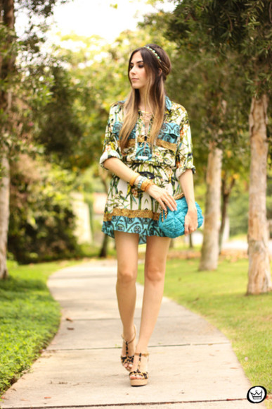 folk blogger boho headband fashion coolture clutch tropical