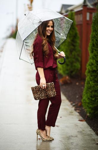 dress corilynn blogger jumpsuit animal print bag leopard print high heels burgundy