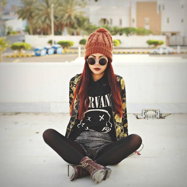 born to bother you hat sunglasses jacket shorts t-shirt shirt shoes beautymanifesto nirvana t-shirt