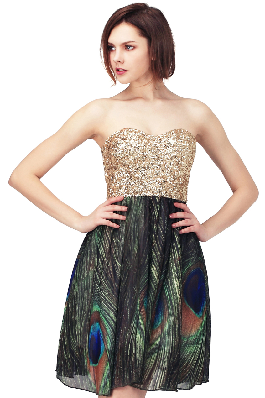 "golden sequin ""bandeau peacock "" dress(arrival on apr.11th), the latest street fashion"