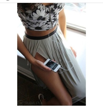 alternative grey girly bralette blouse skirt