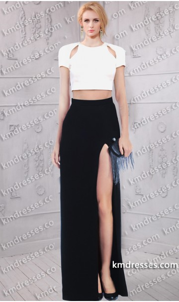 Out bateau neckline high thigh slit two piece dress inspired by taylor swift