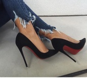 shoes,high heels,black,red bottoms