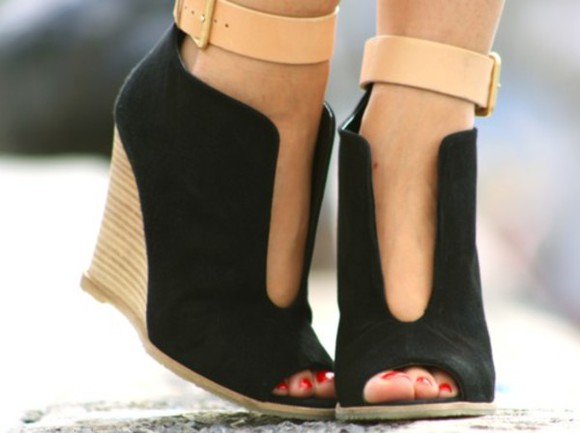 shoes open front black wedges pumps ankle strap wedges peep toes boots