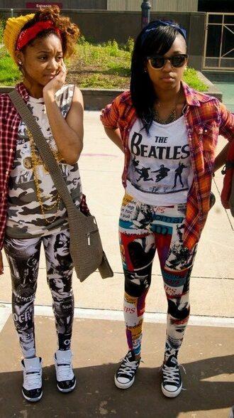 shirt leggings beatles camo plad red lime sunday pants printed leggings streetstyle streetwear
