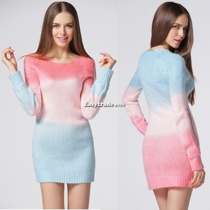 Warm Women Gradient Colorful Knitwear Sweater Coat Tops Round Collar Outerwear | eBay
