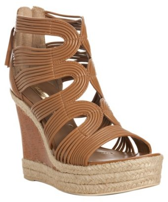 BCBGMAXAZRIA royal tan strappy leather 'Kadence' wedge sandals at Bluefly