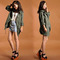 Green womens lady hoodie drawstring military trench jacket coat parka outwear j | ebay