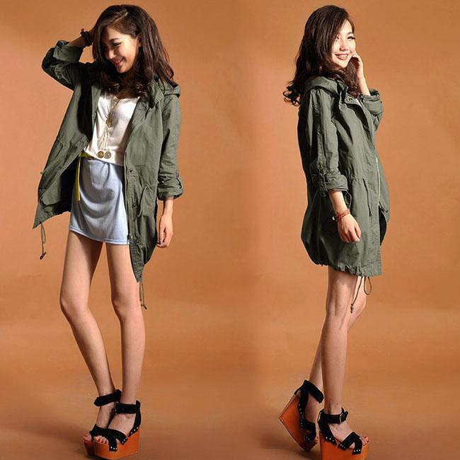 Green Womens Lady Hoodie Drawstring Military Trench Jacket Coat Parka Outwear J | eBay