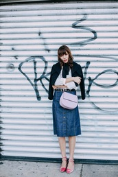 natalie off duty,blogger,jacket,shoes,bag,skirt,button up denim skirt,shoulder bag,flats,pink shoes,mary jane,velvet shoes,pink bag,denim skirt,midi skirt,cute outfits,studded belt