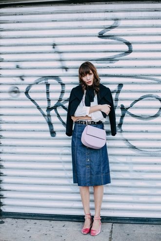 natalie off duty blogger jacket shoes bag skirt button up denim skirt shoulder bag flats pink shoes mary jane velvet shoes pink bag denim skirt midi skirt cute outfits studded belt