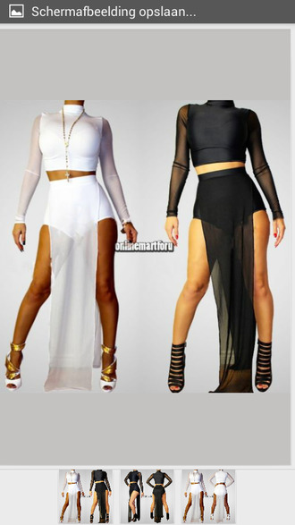 skirt long sleeve crop top high waisted skirt mesh sleeves mesh maxi dress mesh maxi skirt two-piece collared shirts bodycon dress bodycon two piece 2 piece skirt set 2 piece outfit 2 piece suit white crop tops white mesh white maxi skirt thigh slit white maxi skirt white maxi dress