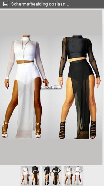 Skirt Long Sleeve Crop Top High Waisted Skirt Mesh