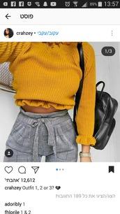 pants,yellow,yellow sweater,checkered pants,tailoring