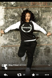 shirt,black,white,dope,sweater,urban,black girls killin it,joggers pants,jumpsuit