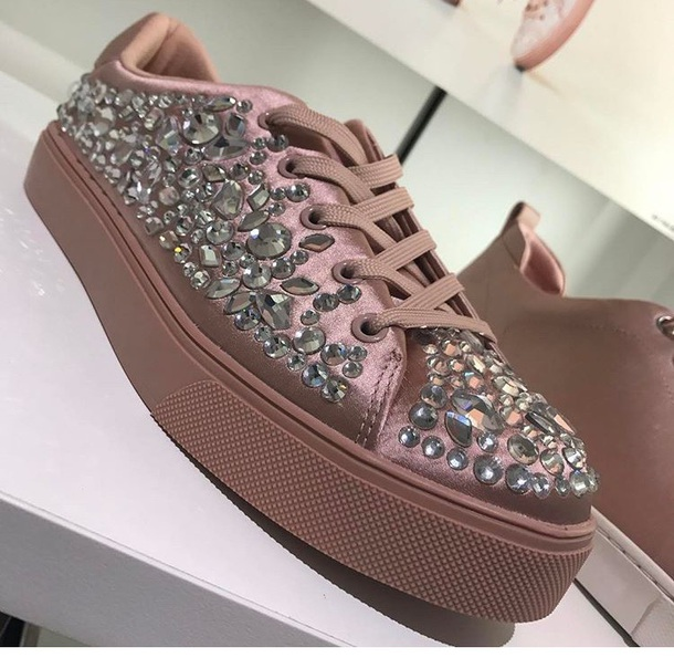 shoes studded pink platform sneakerss