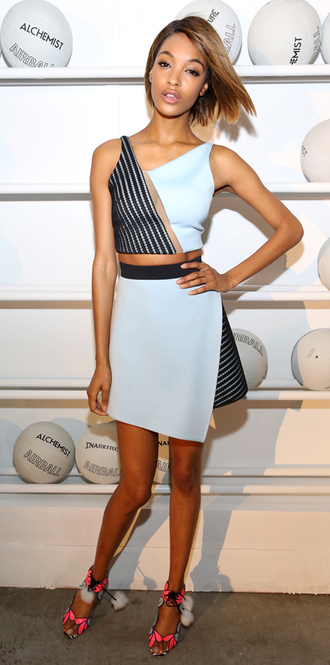 skirt crop tops jourdan dunn two-piece asymmetrical black and white top shoes