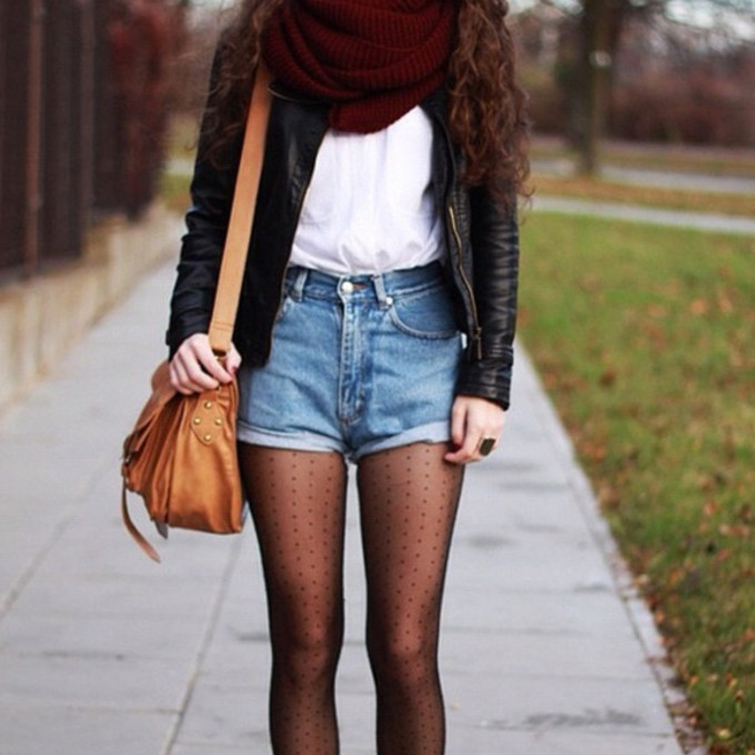 red scarf back to school bag jacket black shorts clothes tights socks white underwear leather jacket weheartit accessories scarf red