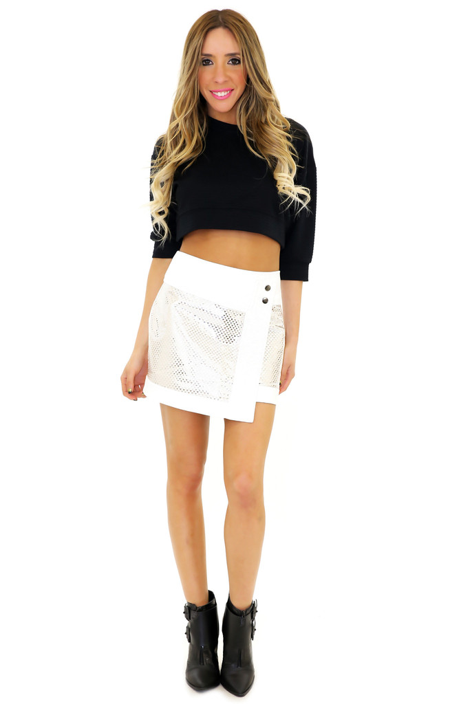METALLIC LEATHER CONTRAST SKIRT | Haute & Rebellious