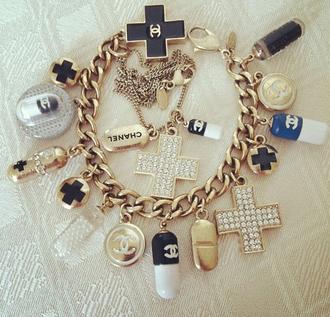 chanel belt bracelets gold jewels blue white