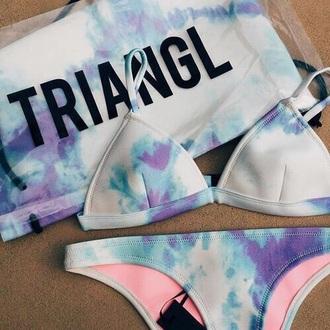 swimwear triangle bikini triangle bikini blue purple swimwear white purple triangl