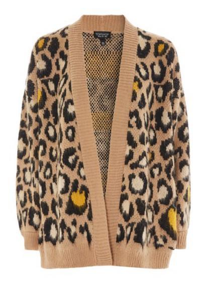 Topshop cardigan cardigan print brown leopard print sweater
