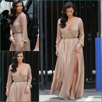 dress kimkardashian nude dress side split maxidress