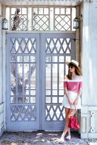 top red off shoulder top margo and me red top off the shoulder office supplies checkered high waisted shorts shorts white shorts bag red bag sandals white shoes slide shoes shoes summer outfits three-quarter sleeves hat sun hat straw hat summer top blogger