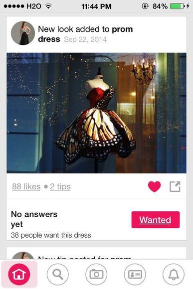 prom dress butterfly
