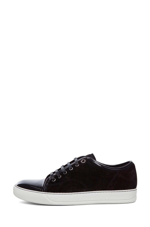 Lanvin   Calfskin Suede & Patent Low Top Sneakers in Black