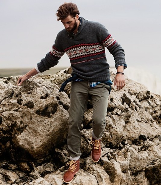 Sweater: shawl, collar, knitwear, menswear, fair isle - Wheretoget