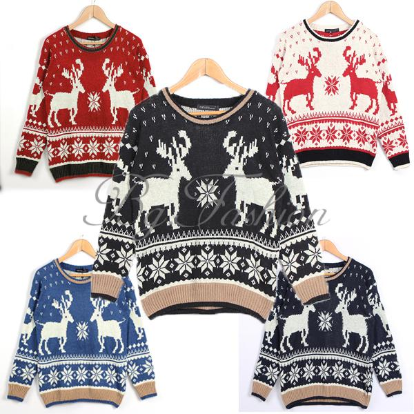Pullover Christmas Women Geometry Deer Long Sleeve Knit Winter Jumper Sweater | eBay