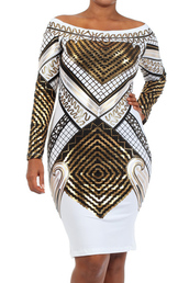 dress,metallic white egyptian print long sleeve dress,metallic,bodycon,graphic print dress,off the shoulder dress,party dress,gold dress,gold foil fitted dress,plus size dress,plus size > plus size sequin dresses,cocktail dress,gold body-con,printed midi,graphic dress,long sleeve dress,white dress,metallic tribal dress,curvy dress,gold sequins,tribal pattern,curvy