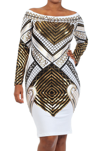 dress metallic white egyptian print long sleeve dress metallic bodycon graphic print dress off the shoulder dress party dress gold dress gold foil fitted dress plus size dress plus size > plus size sequin dresses cocktail dress gold body-con printed midi graphic dress long sleeve dress white dress metallic tribal dress curvy dress gold sequins tribal pattern curvy