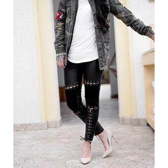 leggings maniere de voir leather suede black lace up tied up zipped trouser