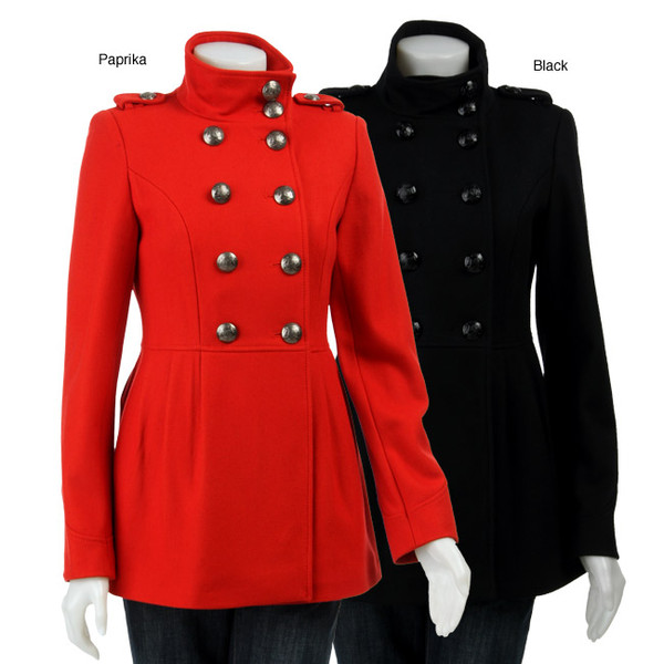 coat vintage black military style - Military Pea Coat Womens Down Coat