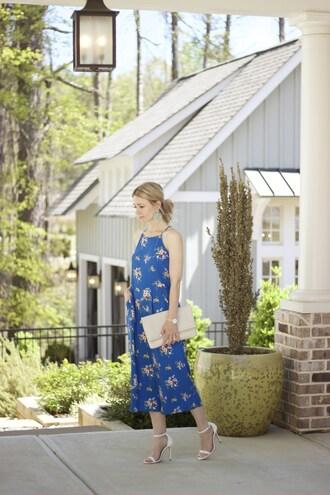 citypeach blogger jumpsuit shoes jewels bag blue jumpsuit spring spring outfits clutch sandals high heel sandals
