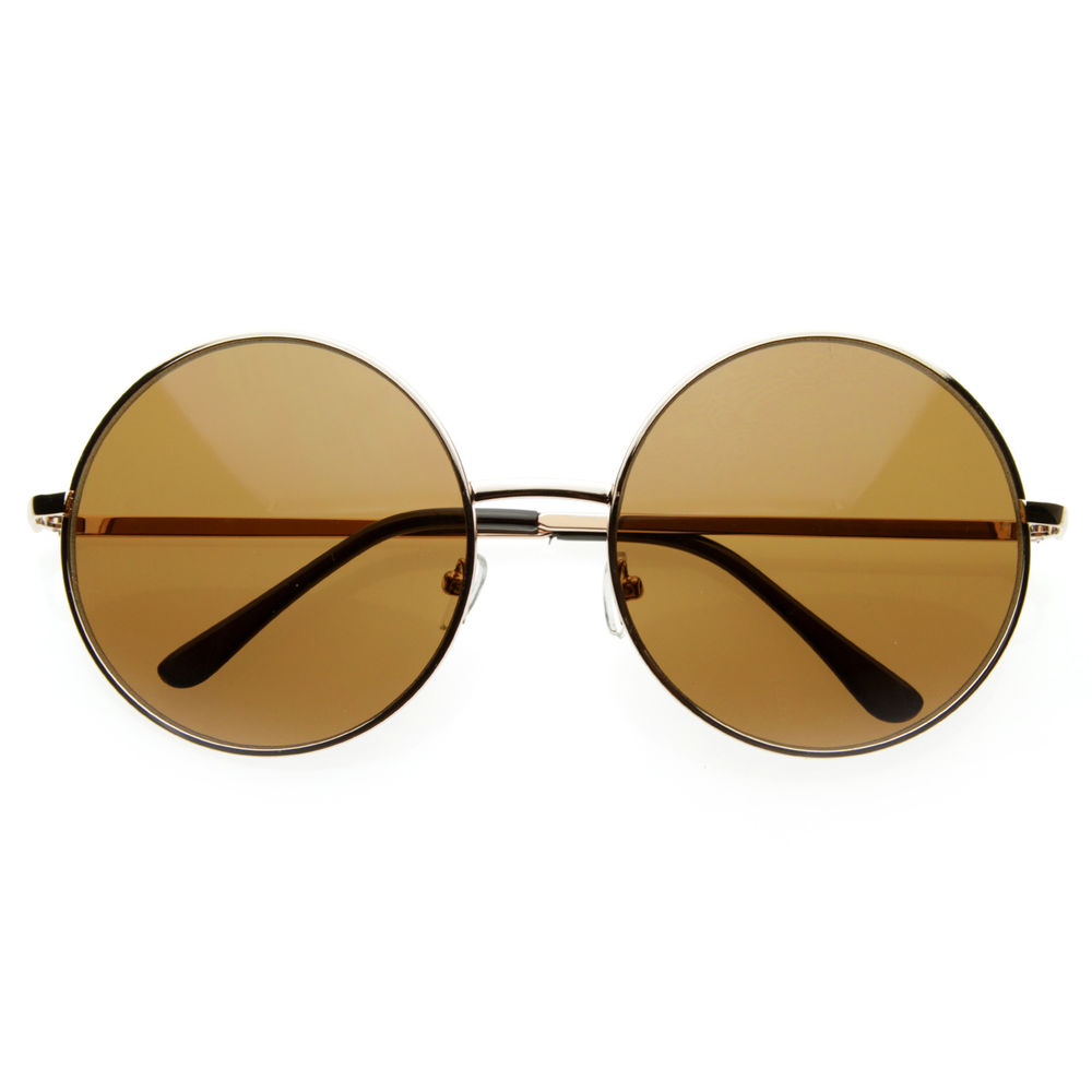 Trendy Vintage Inspired Large Oversize Full Metal Round Circle Sunglasses 8370
