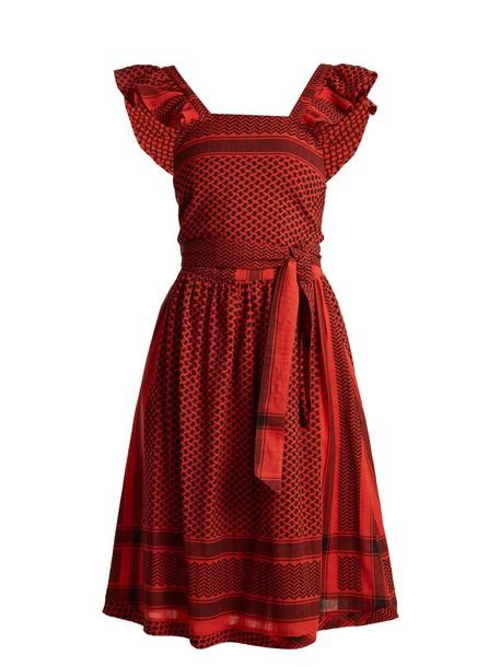 CECILIE COPENHAGEN dress back open jacquard cotton red