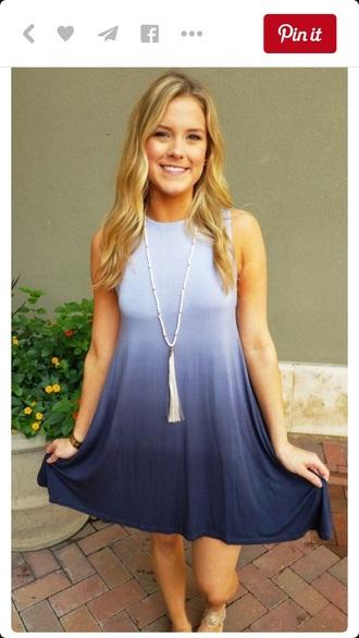 dress blue dress ombre ombre bleach dye t-shirt dress summer dress cute dress boho dress boho